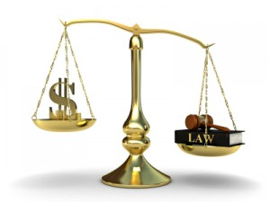 Scales of justice, where law outweighing money