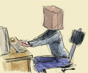 Computer typing with a bag on head