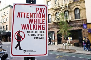 Texting While Walking Sign